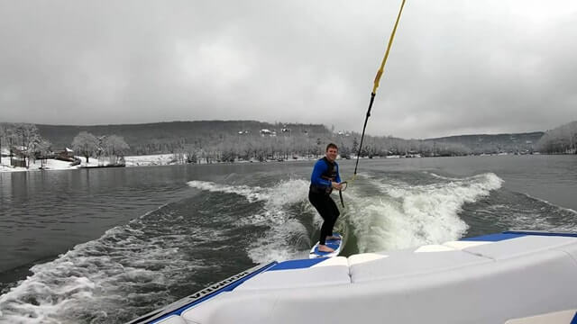 Cory Bosley Wake Surfing in the Snow