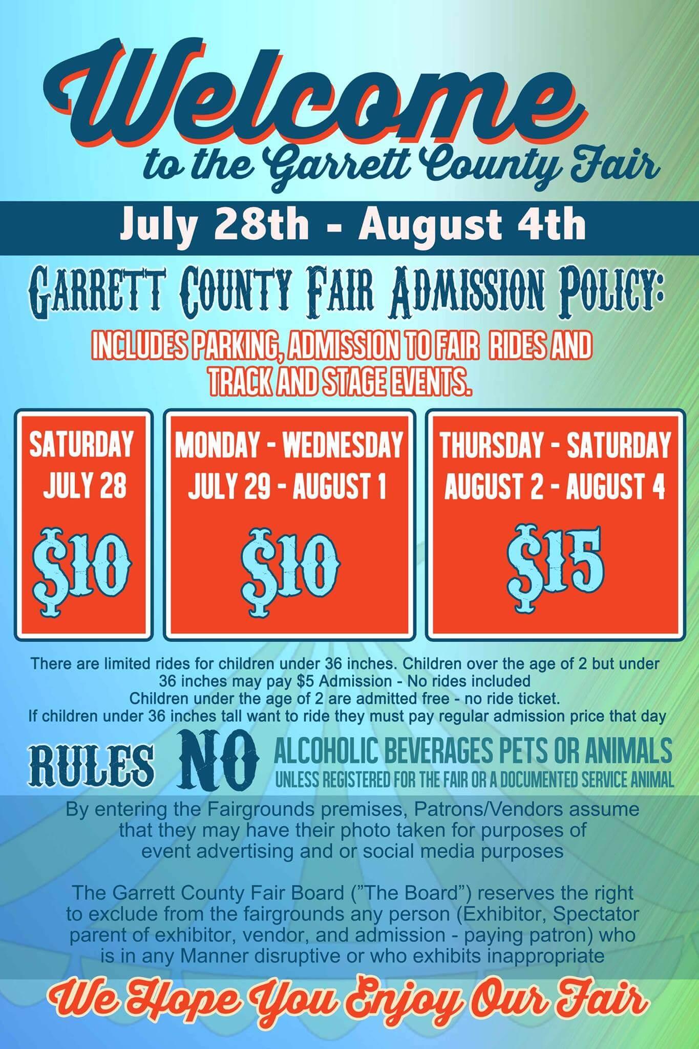 2018 Garrett County Agriculture Fair Info Sheet