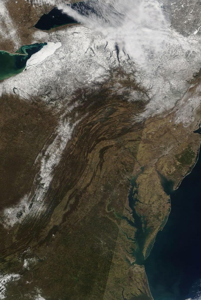 Allegheny Mountains Weather Satellite Snowcover
