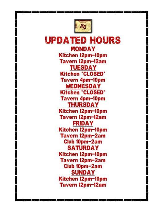 Black Bear Tavern & Restaurant - Labor Day Weekend Schedule