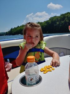 Bonnie Gray Richards on the boat at Deep Creek Lake, MD