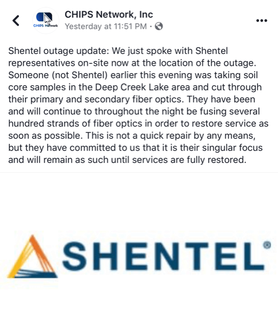 CHIPS Network Shentel Update