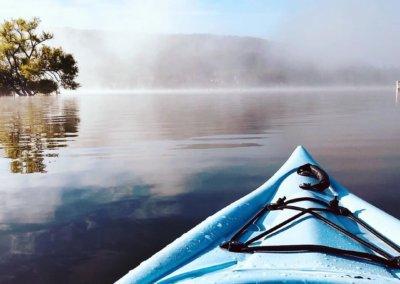 kofishski watching the sun rise through the fogg by kayak
