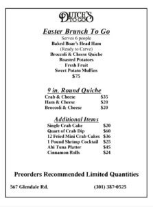 Dutch's At Silver Tree: Special Easter ToGo Features