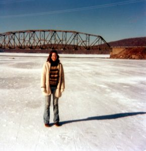 Lynn Murphy on Frozen Deep Creek Lake, MD in 1981