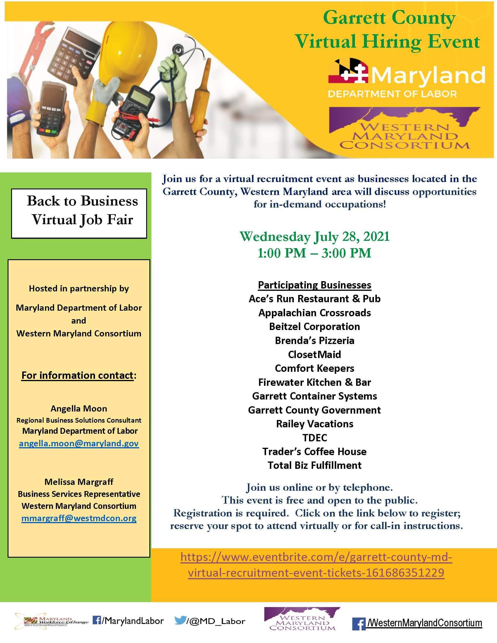 Garrett County Virtual Hiring Event