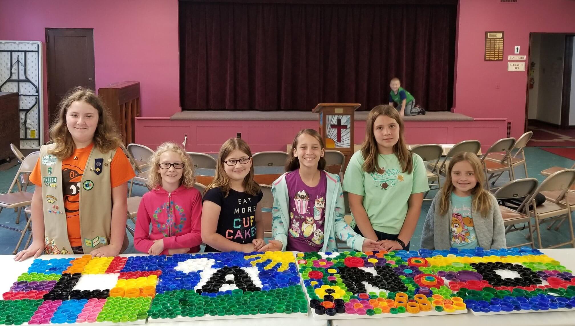 Girlscouts Bottle cap Project