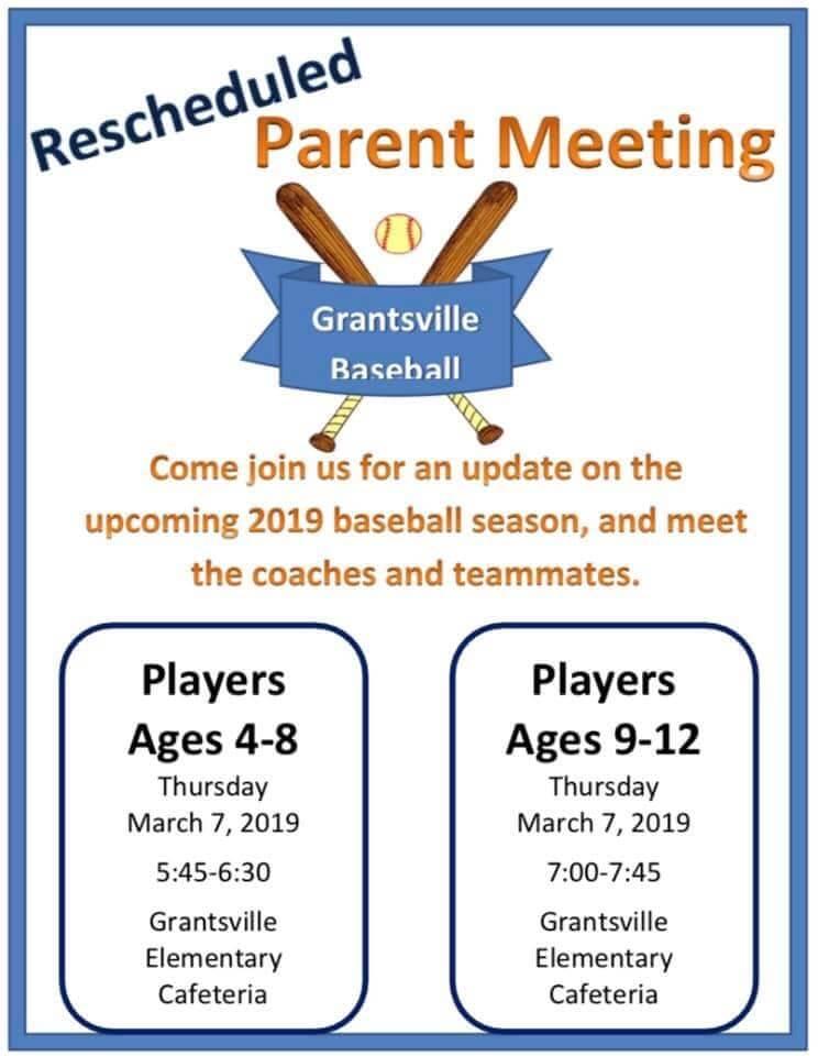 Grantsville Baseball Parent Meeting