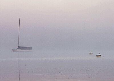 Kellie Zbignewich Boats and Fog at Deep Creek Lake