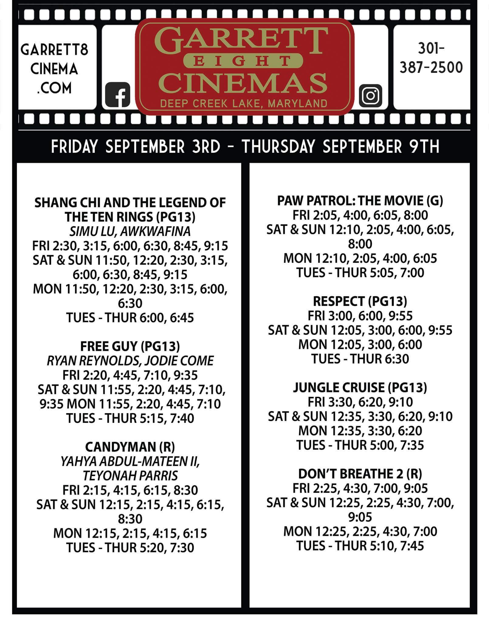 Garrett 8 Cinemas Movie List (03-09 September)