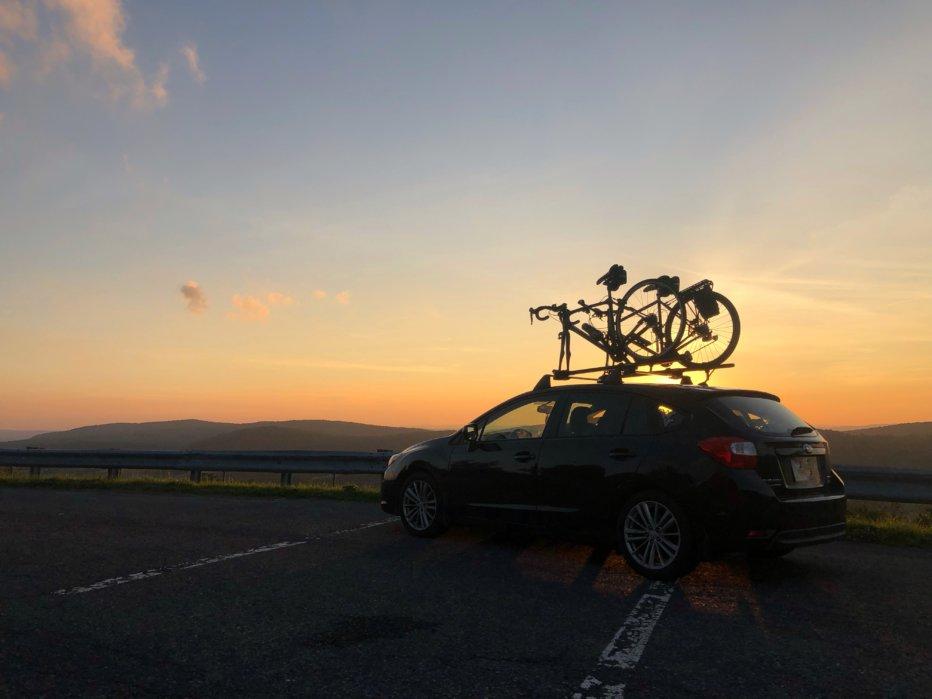 Subaru and Bikes Sunset Photo