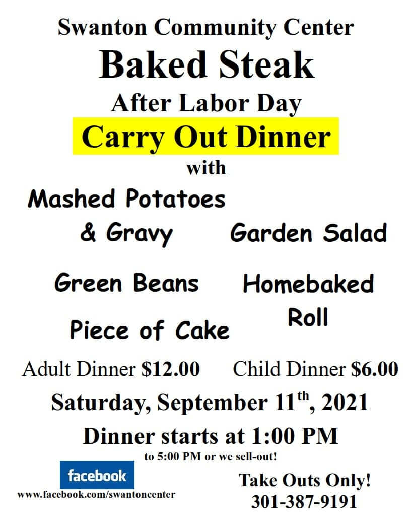 Swanton Community Center: After Labor Day Carry Out Dinner