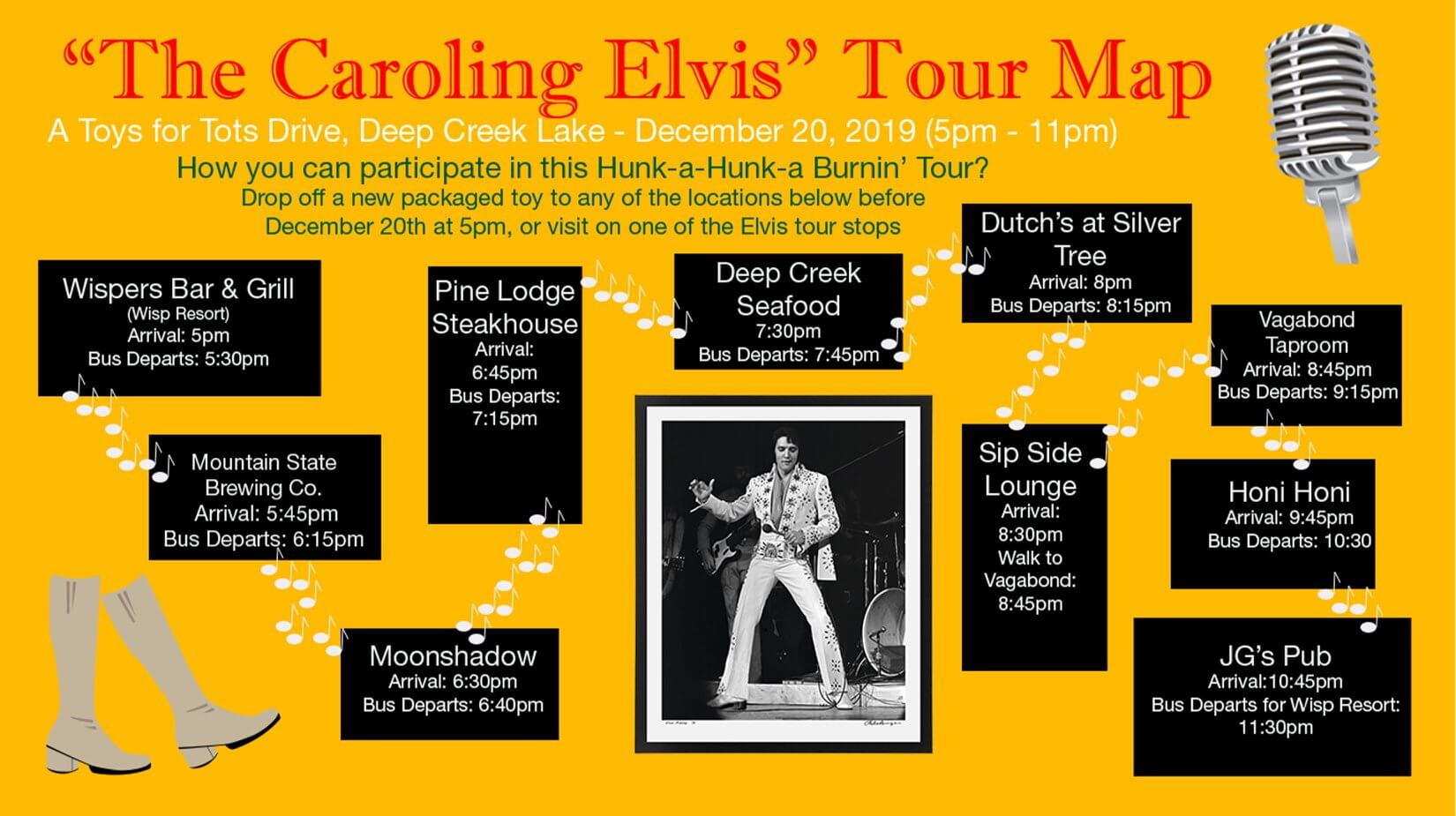 The Caroling Elvis Tour Map at Deep Creek Lake, MD