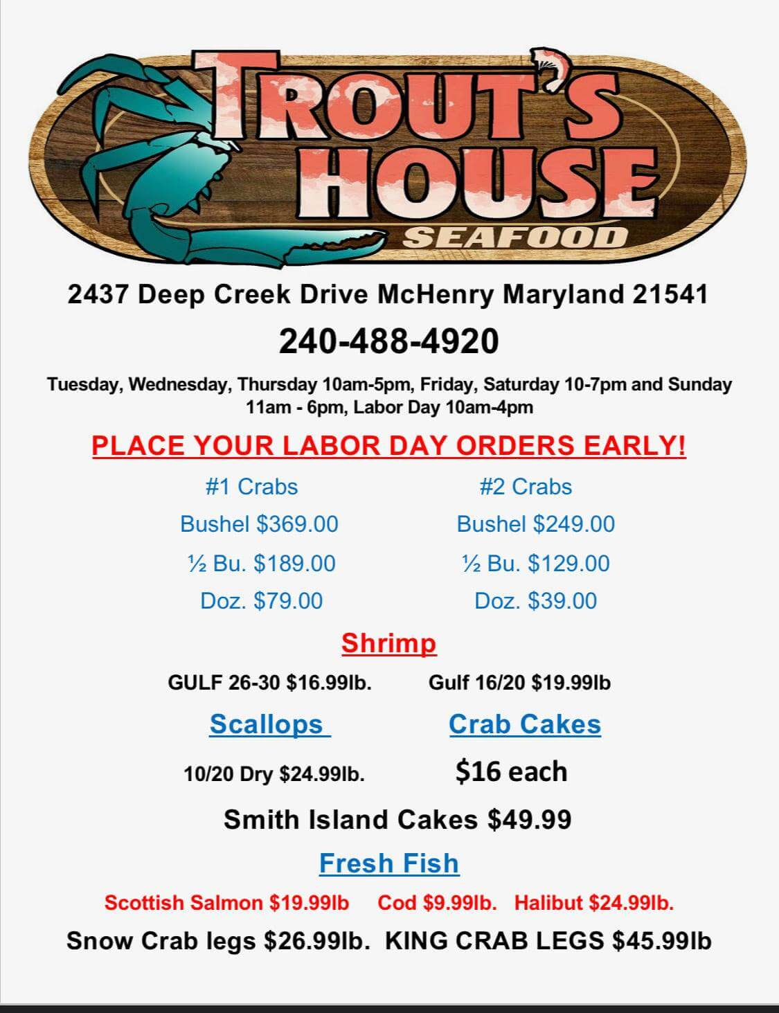 Trout's House Seafood: Labor Day Market Prices