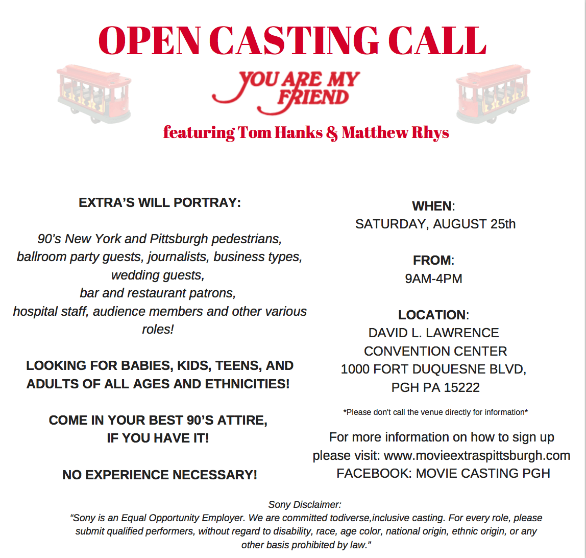Pittsburgh Extras Casting Call