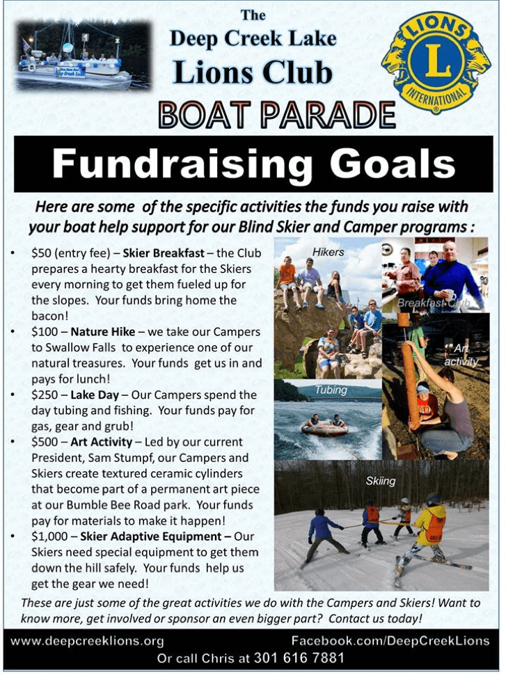 Deep Creek Lions Club Fundraising Goals