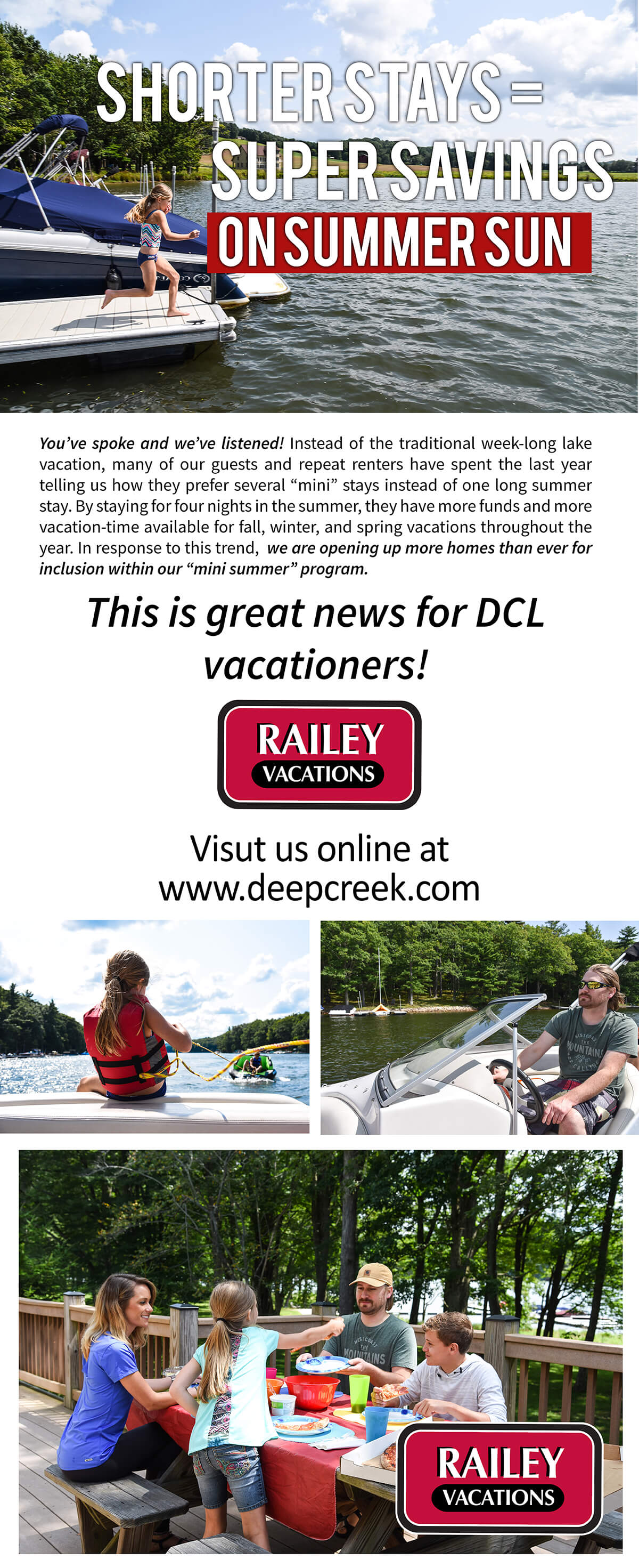 Railey Vacations Deep Creek Lake, MD Spring and Summer Content